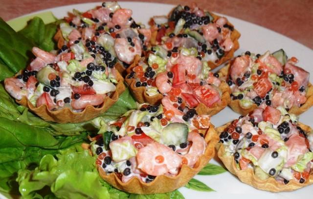 Салатики в тарталетках с фото